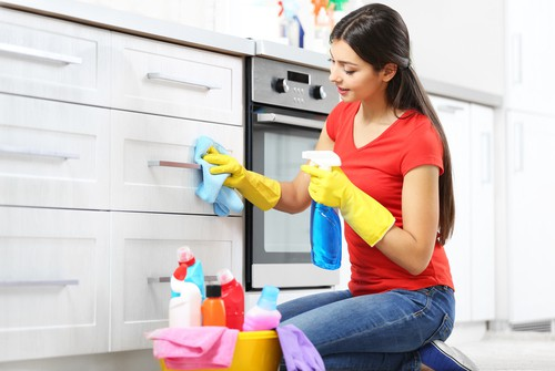 Professional cleaning in progress